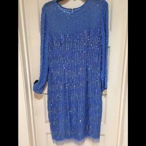 A. J. BARI 100% SILK BEADED DRESS sequin STUNNING